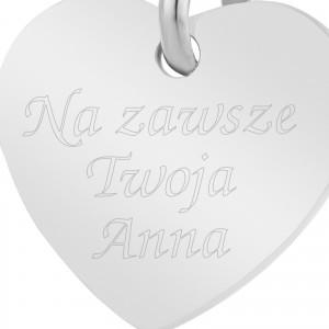 charms serce srebrne z grawerem
