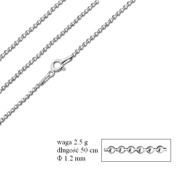Srebrny łańcuszek kulkowy
