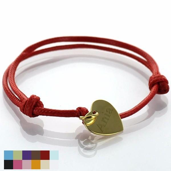 bransoletka sznurkowa z zawieszką serduszko