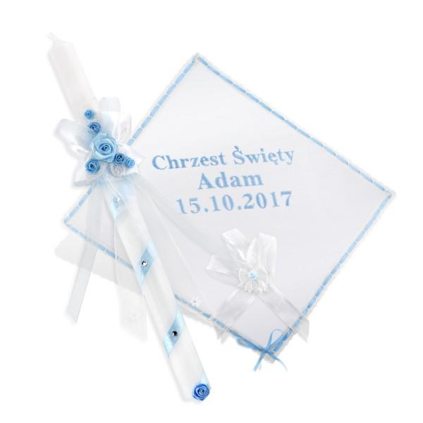 szatka z haftem imienia i daty chrztu dla dziecka