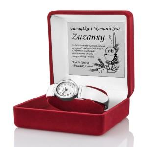 prezent na komunię dla dziewczynki srebrny zegarek w pudełku z grawerem