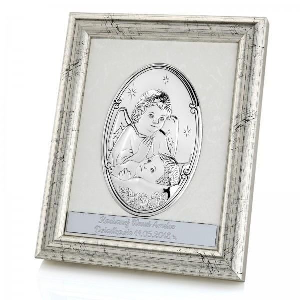 srebrny obrazek na chrzest święty