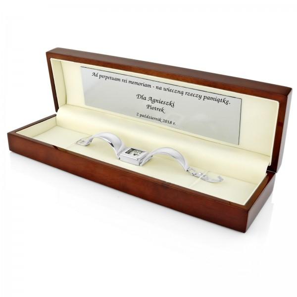 zegarek damski srebrny w drewnianym pudełku z dedykacją