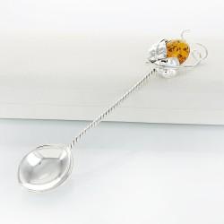 srebrna łyżeczka z bursztynem