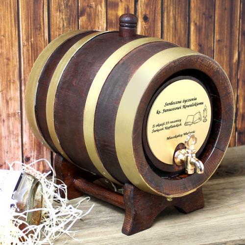 Beczka dębowa (2 litry) jako upominek na ślub z opcją graweru