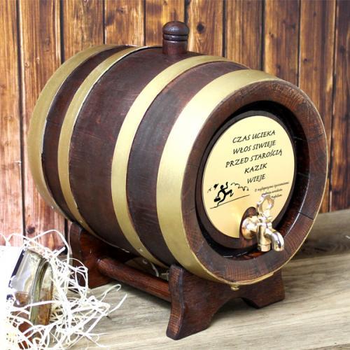 Elegancka beczka dębowa do serwowania alkoholi (5 litrów) z opcją graweru