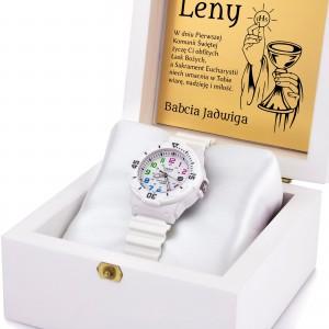 zegarek casio w drewnianej szkatułce z grawerem na prezent na komunię