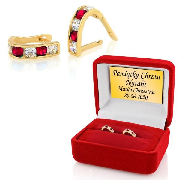 złote kolczyki z cyrkoniami na chrzest dla dziewczynki