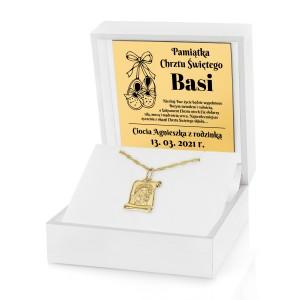 prezent na chrzest złoty medalik z grawerem