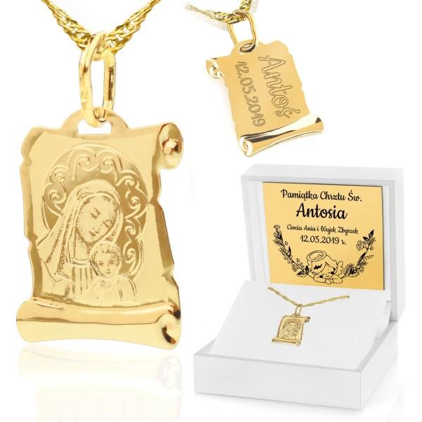 złoty medalik na chrzest dla dziewczynki