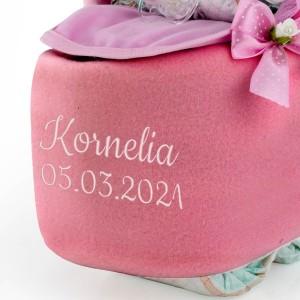kocyk z haftem różowy