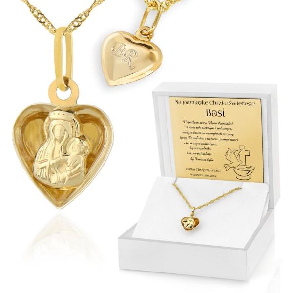 pamiątka chrztu świętego złoty medalik w pudełku z dedykacją