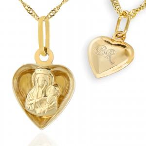 medalik z grawerem złoty na prezent na chrzciny