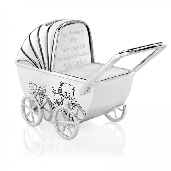 wózek z grawerem na prezent na pamiątkę chrztu