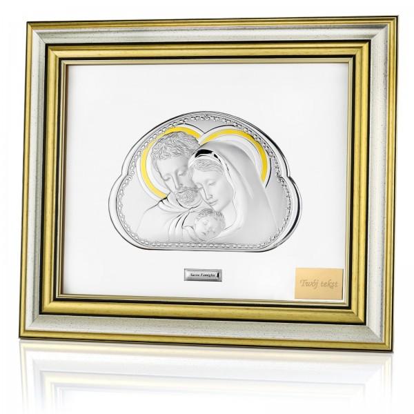srebrny obraz świętej rodziny w eleganckiej ramie z grawerem