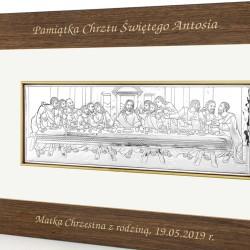 pamiątka na chrzest srebrny obraz ostatnia wieczerza z grawerem