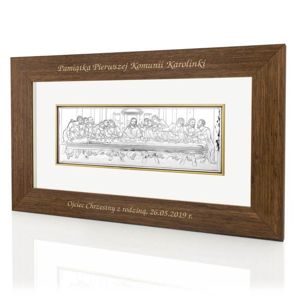 obraz srebrny ostatnia wieczerza z dedykacją na prezent na komunię