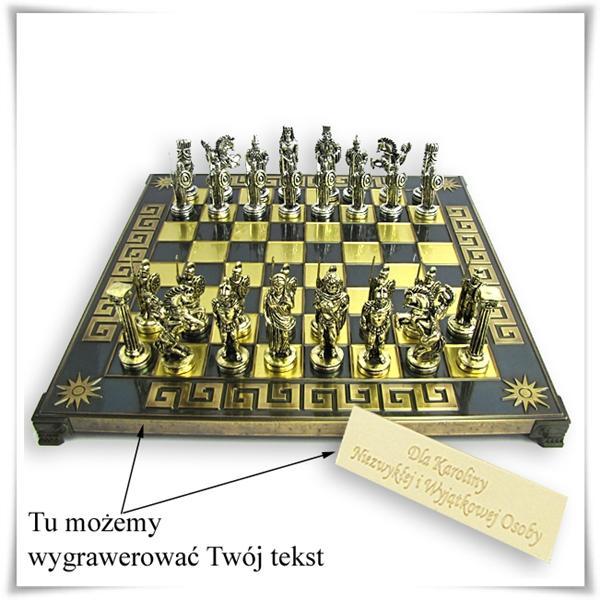 Ekskluzywne szachy z mosiądzu z grawerem