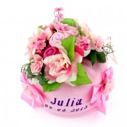 tort z pieluszek różowy na prezent dla dziecka na chrzest