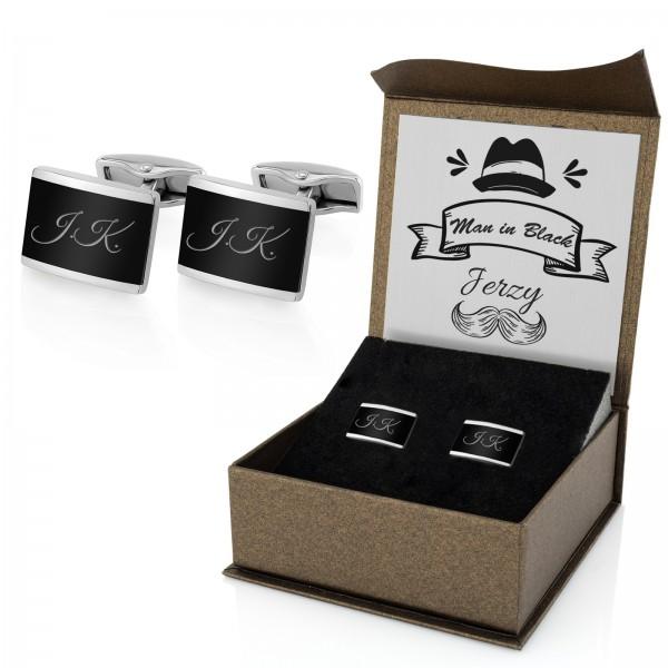 stalowe spinki do mankietów w pudełku prezentowym z grawerem na prezent dla niego