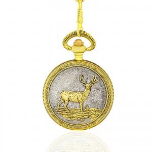 zegarek kieszonkowy z dewizką i wizerunkiem jelenia na kopercie na prezent na dzień dziadka