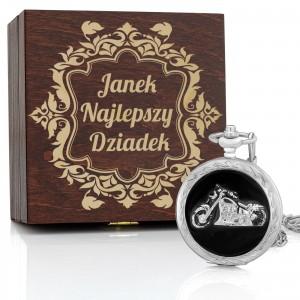 grawer dedykacji na pudełku na zegarek z dewizką na prezent dla dziadka na imieniny