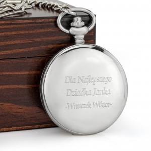rewers zegarka gładki, srebrny tle na prezent dla dziadka na mikołajki