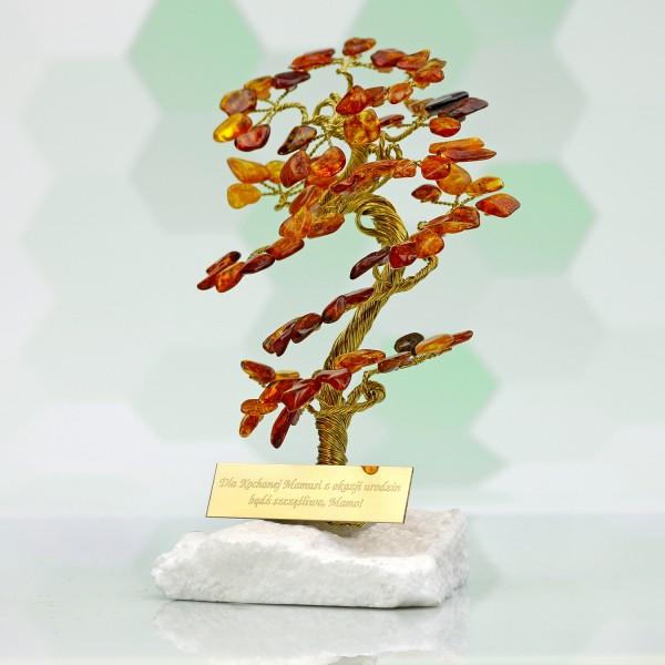 bursztynowe drzewko szczęścia z grawerem