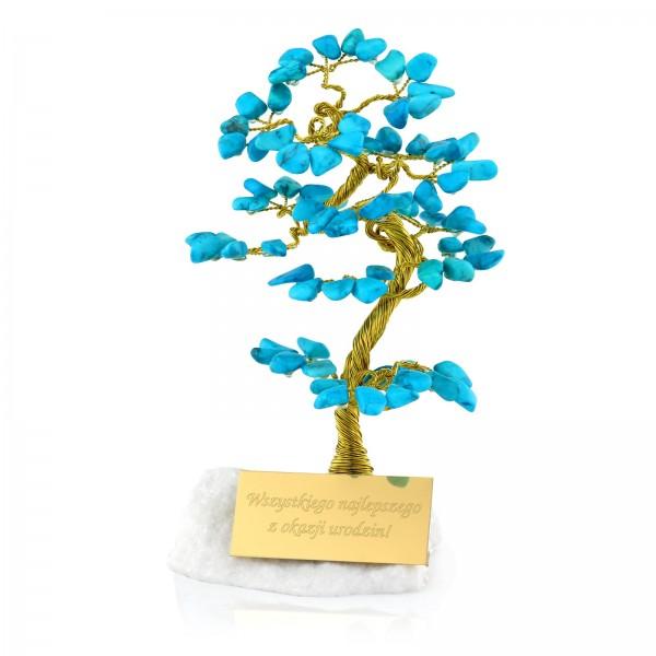 drzewko szczęścia niebieskie z grawerem dedykacji