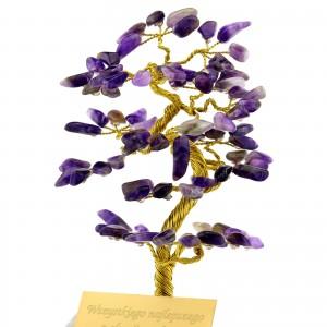 ametystowe drzewko szczęścia z dedykacją na prezent