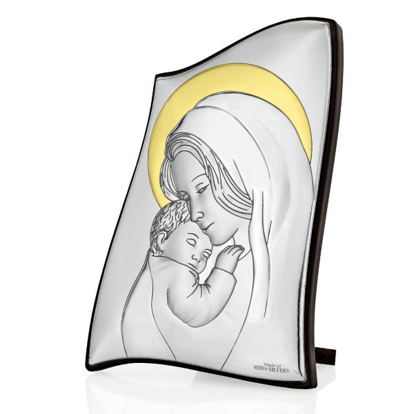 srebrny obrazek matka boska z dzieciątkiem na prezent