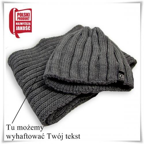 Komplet na zimę męski: czapka + szalik, upominek z możliwością haftowania dedykacji
