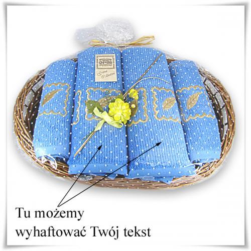 Zestaw ręczników 4-części na wiklinowej podstawce + możliwość dowolnego haftu