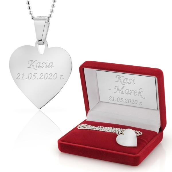 srebrny naszyjnik serce z grawerem dla niej