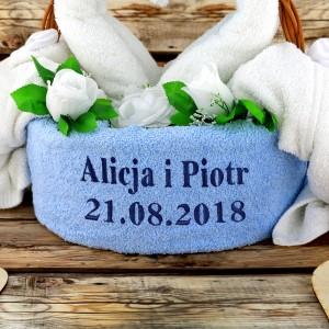 ręczniki z haftem na prezent dla nowożeńców