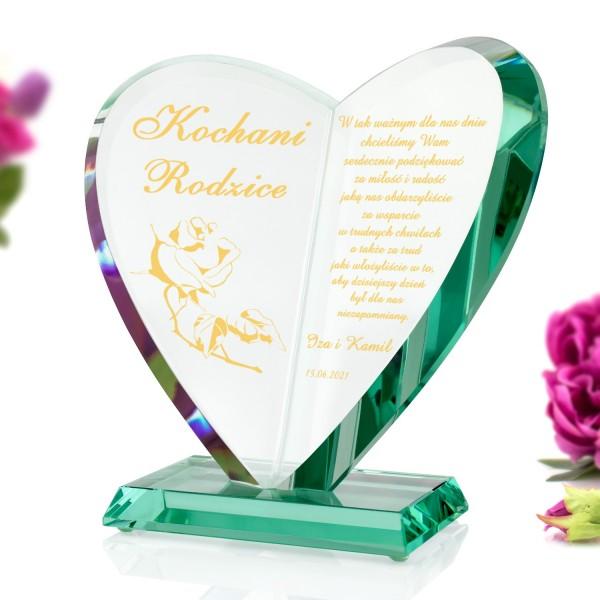 szklana statuetka serce z grawerem
