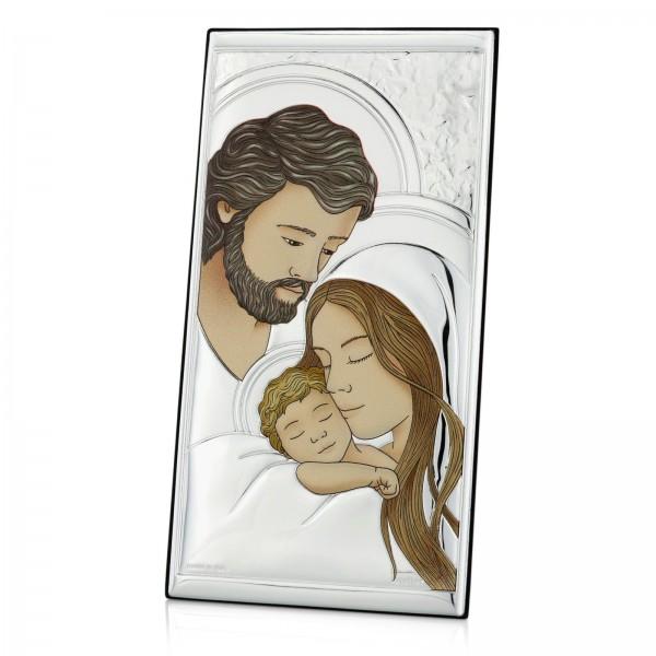 obrazek ze srebra święta rodzina na prezent na chrzest
