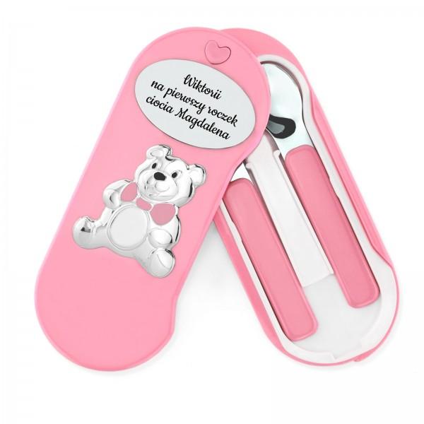 sztućce dla dzieci z grawerem na prezent dla dziewczynki na roczek