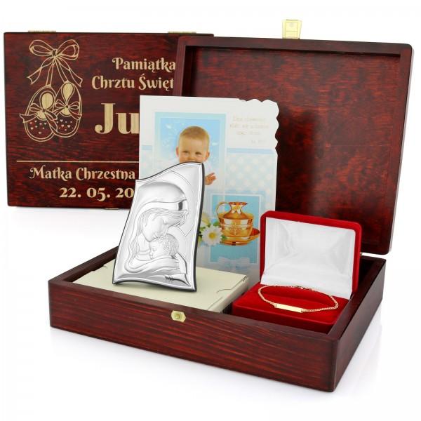 zestaw prezentowy na chrzest z grawerem