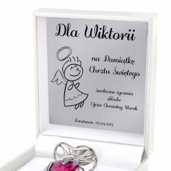 srebrny smoczek w etui na prezent na chrzest dla dziewczynki