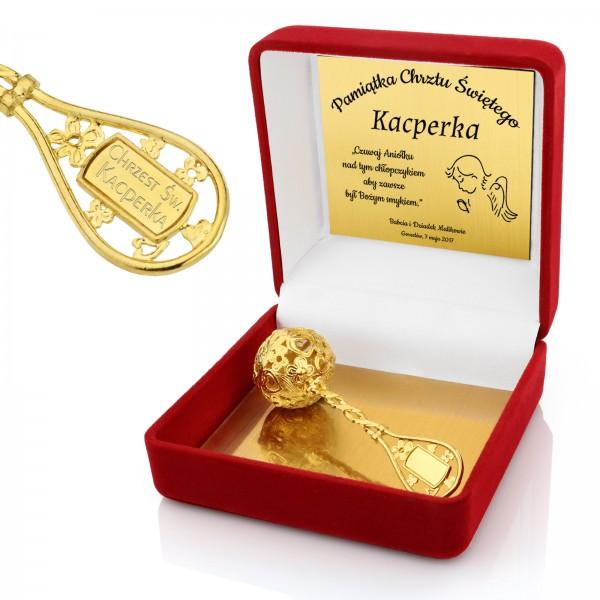 grzechotka pokryta 24K złotem z grawerem