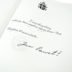pismo święte z dedykacją na prezent na chrzciny