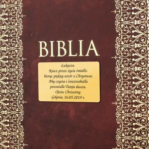 biblia na komunię z grawerem dedykacji