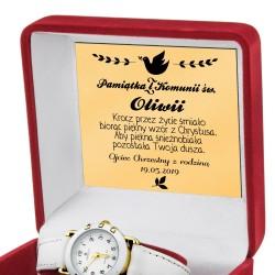 zegarek komunijny biały dla dziewczynki z grawerem dedykacji