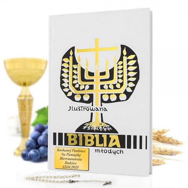 biblia ilustrowana na bierzmowanie z grawerem