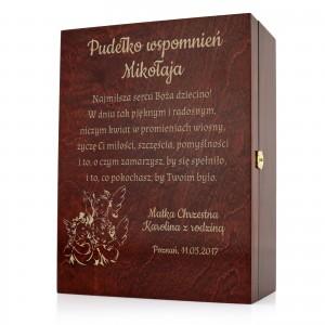 pudełko z grawerem na prezent dla dziewczynki na chrzest
