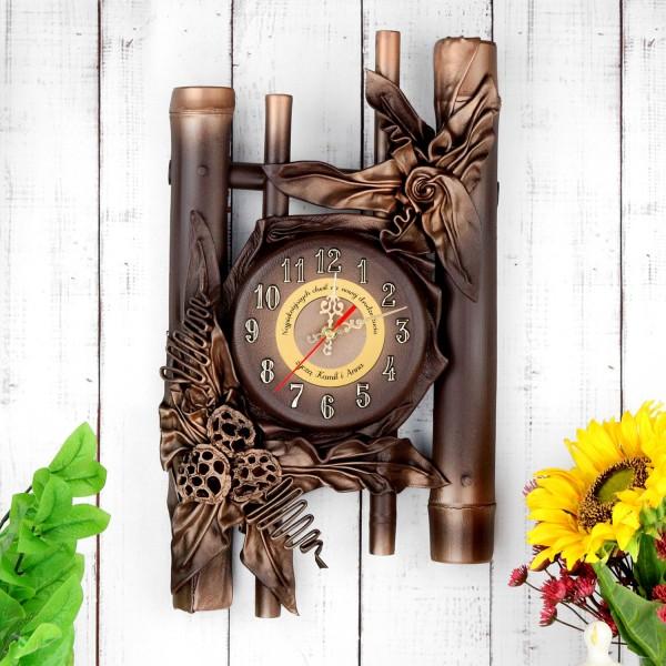 zegar bambusowy na prezent dla pary z grawerem
