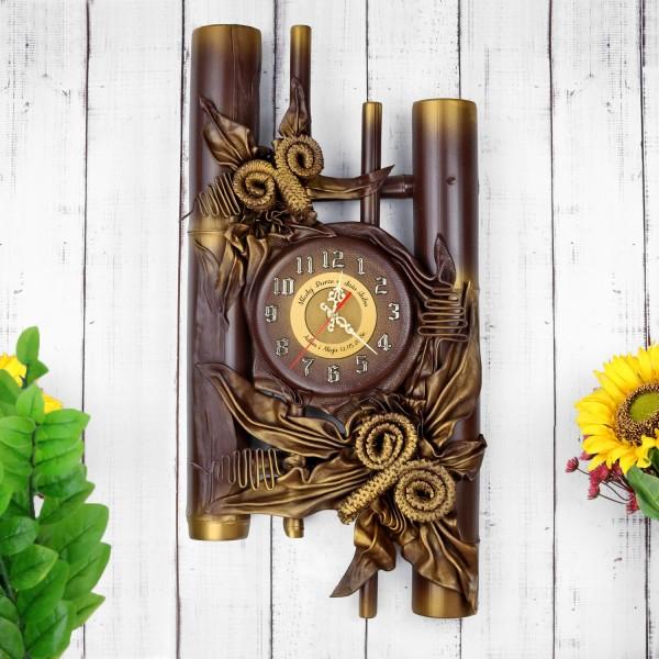 zegar ze skóry i bambusa z grawerem dedykacji