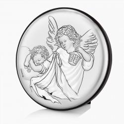 srebrny obrazek z aniołkami na chrzest