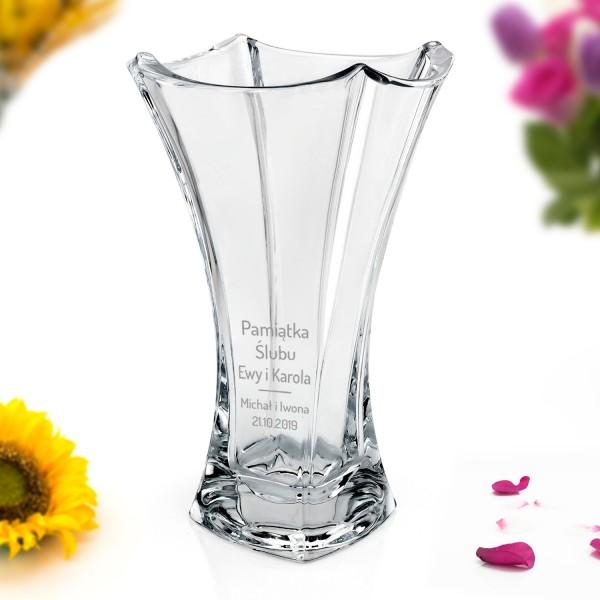 wazon ze szkła kryształowego z grawerem